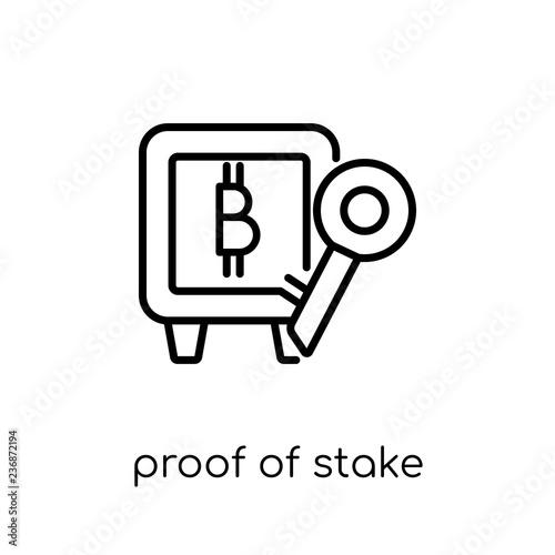 Slika na platnu Proof of stake icon. Trendy modern flat linear vector Proof of s