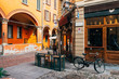 canvas print picture - Old narrow street in Bologna, Emilia Romagna, Italy