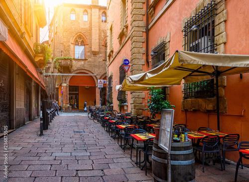 Old narrow street in Bologna, Emilia Romagna, Italy Canvas Print