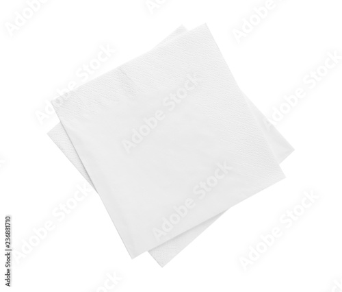 Photo sur Aluminium Cocktail Clean paper napkins on white background, top view