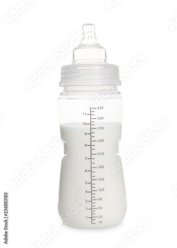 Baby bottle with milk on white background
