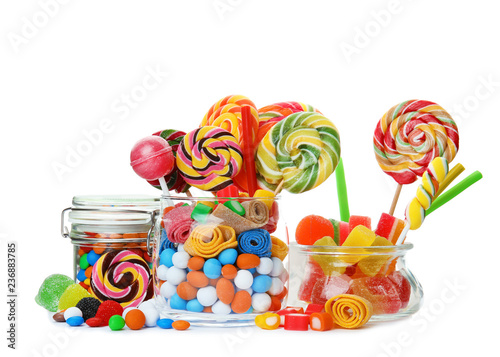 Poster Confiserie Composition with many different yummy candies on white background