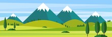 Color Vector Flat Design Illustration Landscape Mountains Illustration Nature Background.