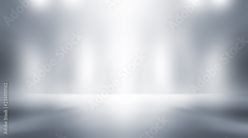 Fototapety, obrazy: Soft gray empty perspective floor room studio gradient with backdrop spotlight used for background and display your product.
