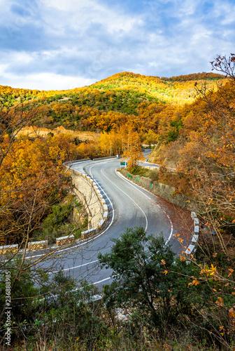 Picturesque mountain road in autumn. Meteora Rocks, Greece