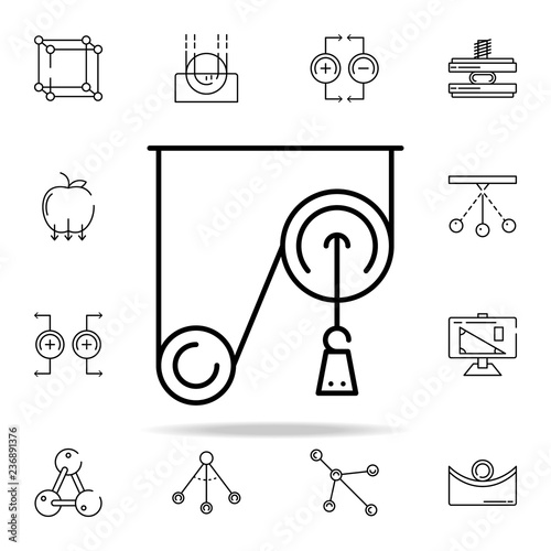 pulley weight icon  physics icons universal set for web and mobile