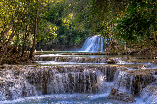 Fotografie, Obraz A series of waterfalls in the middle of the tropical forest in Brazil