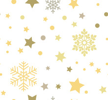 White Abstract Seamless Pattern With Yellow Snowflakes And Stars.