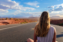 Girl Looking At Monument Valley
