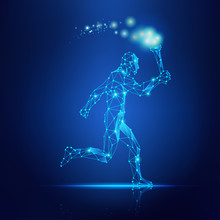 Concept Of Technology Revolution, Abstract Wireframe Man Running With Torch In The Hand