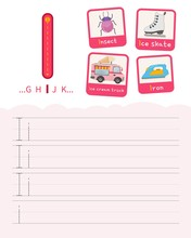 Handwriting Practice Sheet. Basic Writing. Educational Game For Children. Learning The Letters Of The English Alphabet. Cards With Objects. Letter I.