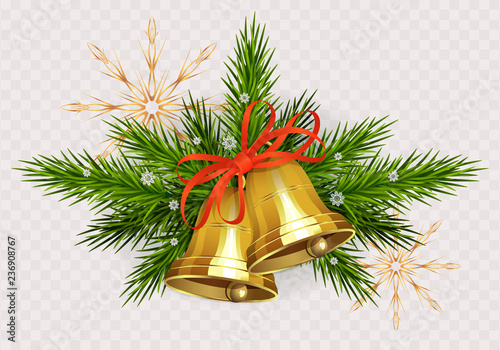 Fotografie, Obraz Christmas arrangement of spruce green twigs, golden bells with red ribbon and go