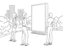 People Standing And Looking Billboard At The Street Graphic Black White City Landscape Sketch Illustration Vector