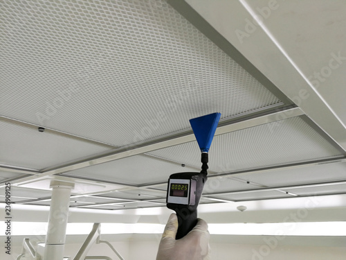Soft focus to Scan air leak test of HEPA Filter - Supply air in Cleanroom Wallpaper Mural