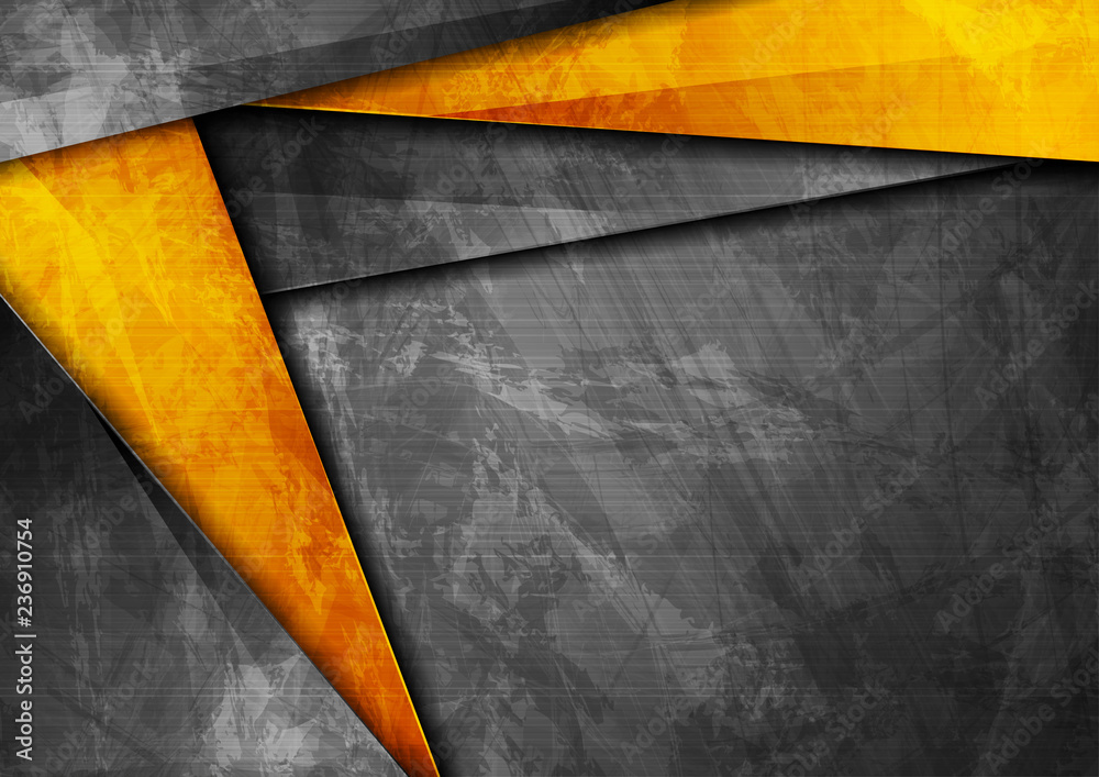 Fototapeta Grunge tech corporate orange and dark grey background