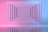 Fototapeta Do przedpokoju - Light blue and pink geometric square tunnel in the wall. Abstract image for presentation with copy blank space in the center. 3d illustration.