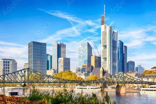 Foto op Plexiglas Stad gebouw Skyline cityscape of Frankfurt, Germany during sunny day. Frankfurt Main in a financial capital of Europe.