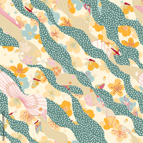 Asian pattern with waves, sakura and at night Fotobehang