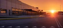 Logistics Center In The Light Of The Rising Sun