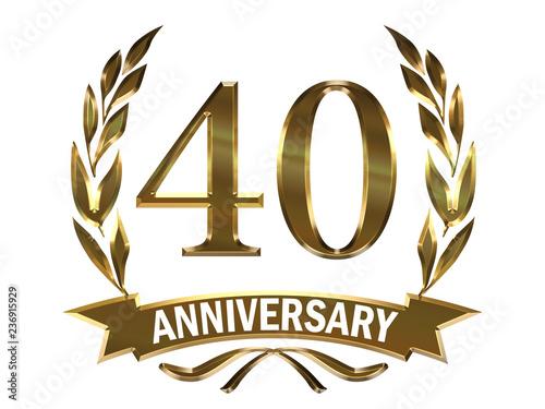 Fotografie, Obraz メタリックの質感の40周年記念 月桂樹の葉つきエンブレム|40th anniversary icon