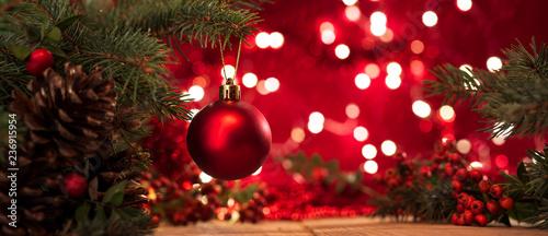 Fotografía Christmas background. Christmas tree and christmas balls