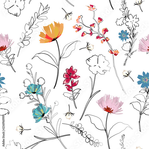 trendy-bright-summer-blooming-garden-outline-and-hand-painting-flowers-many-kind-of-floral-in-seamless-pattern-vector-illustration
