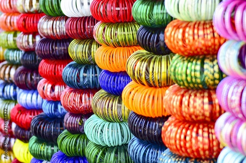 Indian bangles in local market. Canvas Print