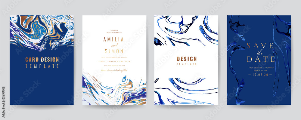 Fototapety, obrazy: Wedding Invitation, Thank you Card, rsvp, posters, modern card Design Collection. Trendy Marble background, Marbling texture design in navy blue ,green turquoise and golden texture vector temple.