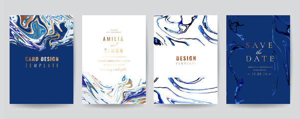 Wedding Invitation, Thank you Card, rsvp, posters, modern card Design Collection. Trendy Marble background, Marbling texture design in navy blue ,green turquoise and golden texture vector temple.