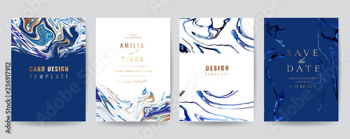 Wedding Invitation, Thank you Card, rsvp, posters, modern card Design Collection. Trendy Marble background, Marbling texture design in navy blue ,green turquoise and golden texture vector temple. - fototapety na wymiar