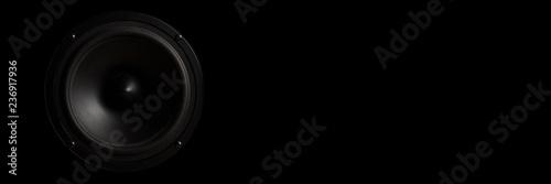 Fotografie, Obraz  Black Music speaker on a black isolated background
