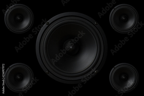 Black Music speaker on a black isolated background Canvas Print