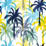 Colorful  summer palm trees on the white  forest  background. Vector seamless pattern. Tropical illustration. - 236918395