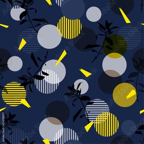 Recess Fitting Graphic Prints Vector botanic silhouette floral seamless pattern on modern stripe polka dot, delicate flower wallpaper, wild leaves wallpaper