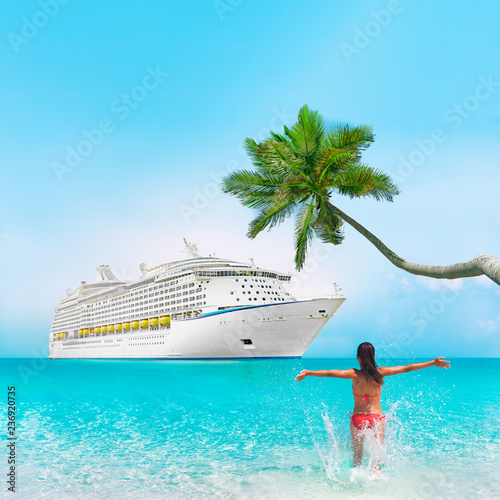 Cruise ship Caribbean tropical vacation travel girl in holiday beach destination with palm tree and bikini woman swimming enjoying ocean water. Background landscape with copy space on blue sky.