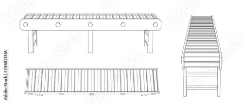 Cuadros en Lienzo Empty conveyor belt. Vector outline illustration