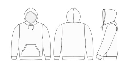 Illustration of hoodie (hooded sweatshirt) / white