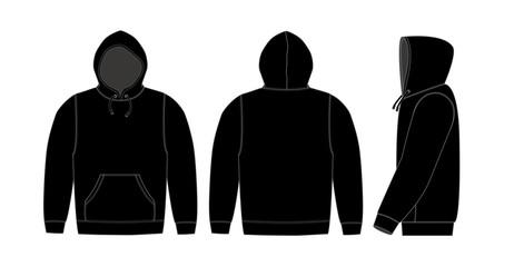 Illustration of hoodie (hooded sweatshirt) / black