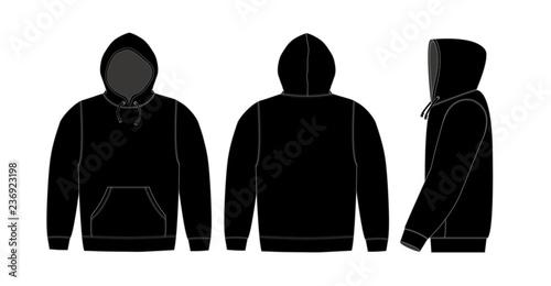 Illustration of hoodie (hooded sweatshirt) / black Canvas Print