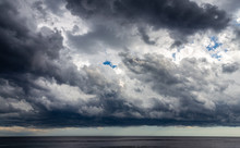 Dark Clouds Of Storm Cover All Area Of Sea Surface At Nice, France Before Sunset.