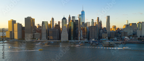 Fotografering Tall Buildings in the Manhattan Skyline at Sunset New York City