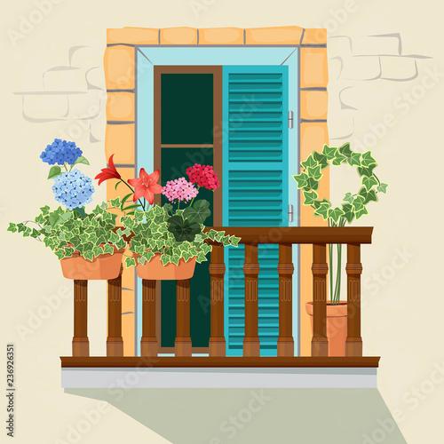 Carta da parati Balcony flowers