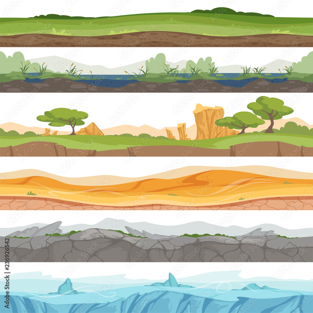Fototapeta Parallax seamless ground. Game landscape ice grass water desert dirt rock vector cartoon background. Illustration of game ground desert, stone rock and swamp