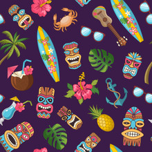 Vector Cartoon Summer Travel Elements Pattern Or Background Illustration. Hawaii Pattern, Summer Tropical Travel, Surfboard And Mask