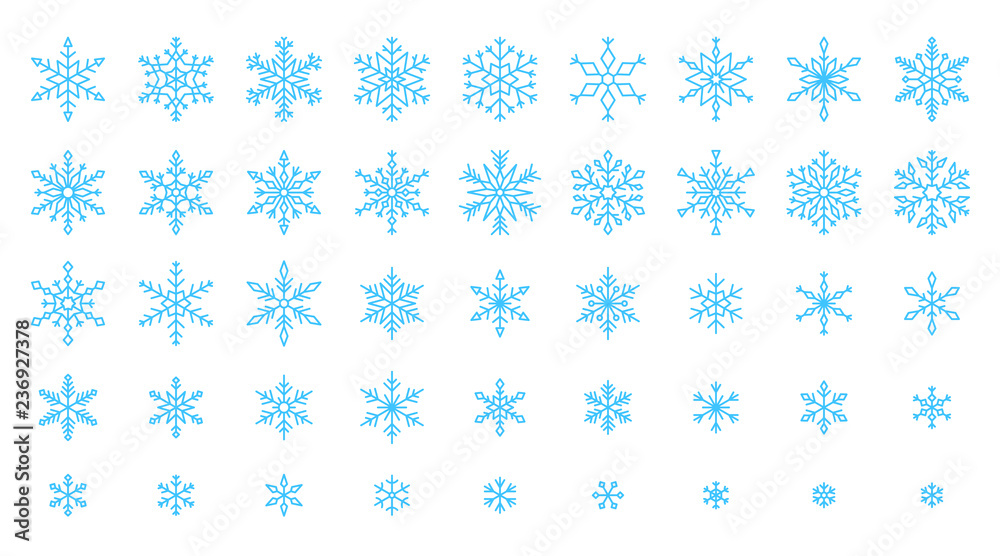 Fototapety, obrazy: Snowflake simple color line icons snow vector set