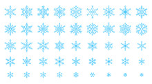 Snowflake Simple Color Line Icons Snow Vector Set