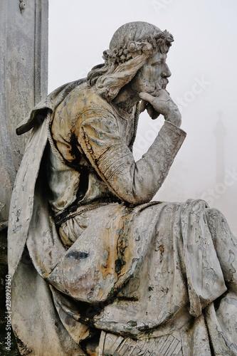 Foto auf Gartenposter Historische denkmal Würzburg, Walther von der Vogelweide im Nebel
