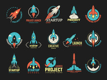Startup Logo. Business Launch Perfect Idea Spaceship Rocket Shuttle Startup Symbols Vector Colored Badges. Illustration Of Rocket And Spaceship, Shuttle Startup