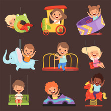 Amusement Park Kids. Playing Happy And Funny Childrens Boys And Girls In Attractions Ride Friends Vector Cartoon People. Amusement Entertainment Boy And Girl Illustration