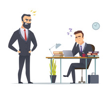 Lazy Worker. Business Office Manager Tired From Routine Work Slipping At Desk Angry Director Standing Vector Concept Scene. Business Employee Manager, Businessman Office Illustration